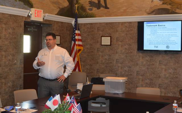 "Ward Law Office registered patent attorney Jacob Ward presented information about intellectual property during the ""Patently Good Ideas: Intellectual Property Law for Business and Entrepreneurs"" event Wednesday at the Wapakoneta Chamber of Commerce office."