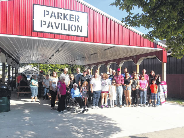 Members of the Parker family pose for a group picture under the Parker Pavilion, which was dedicated Sunday in Harrod.