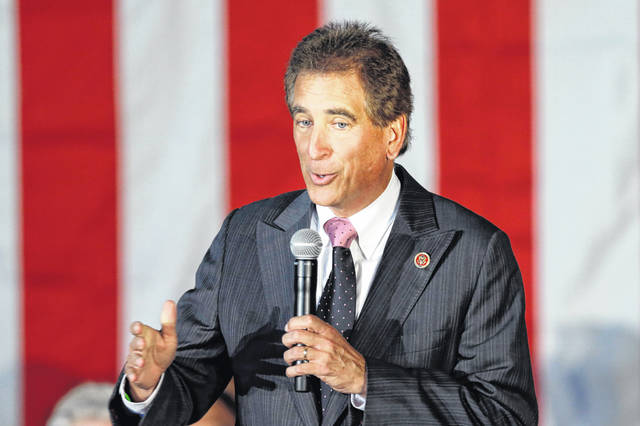 FILE – In this Sept. 29, 2014, file photo, U.S. Rep. Jim Renacci, R-Ohio, speaks at a GOP Get Out the Vote rally in Independence, Ohio.