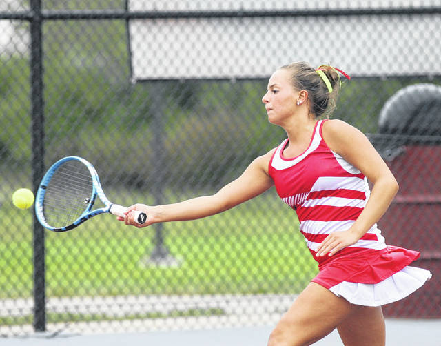 Wapakoneta's Mariah Schroeder stretches hits a return during Thursday singles play at the Western Buckeye League tournament at UNOH.