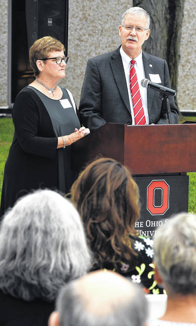 Mary Ellen Webb Marik, left, and her brother, Larry Webb, speak during the dedication of the Perry Webb Student Life Building. The $5.2 million, 15,000 square foot building features a fitness center, food services, an information commons and collaborative work space and several multipurpose lounge spaces.