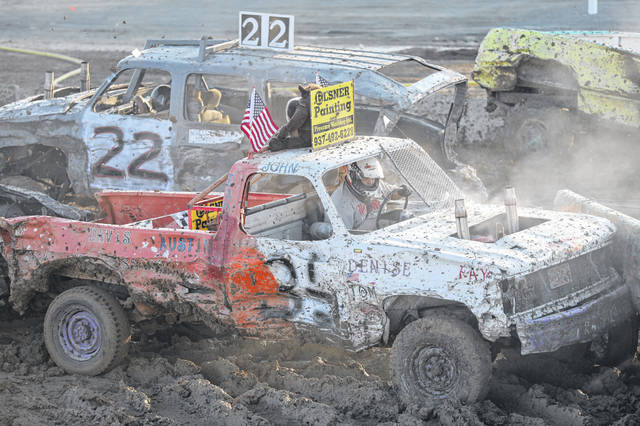 John McCune, of Fort Loramie, competes in the truck category of the demolition derby at the Allen County Fair.