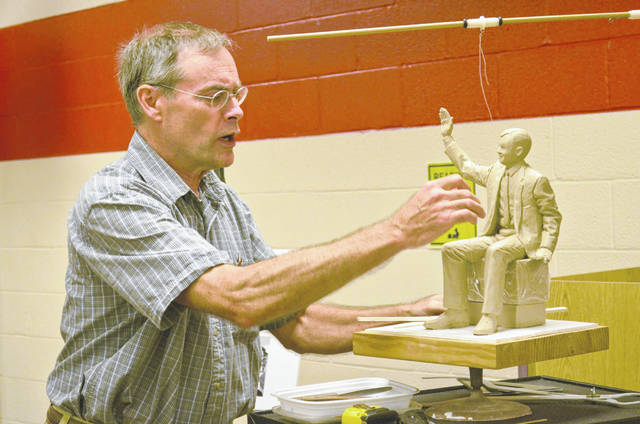 Mike Tizzano, of Columbus, took Wapakoneta residents through his process of creating a Neil Armstrong statue commissioned by the Armstrong Air and Space Museum Association. The retired middle school art teacher and sculptor will place the finished product in downtown Wapakoneta in time for the 50th anniversary of the Apollo 11 lunar landing in 2019.