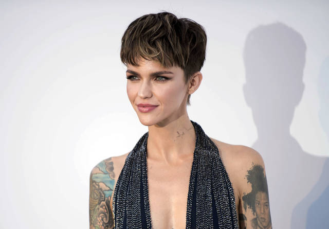 FILE - This May 17, 2018 file photo shows actress Ruby Rose at the amfAR, Cinema Against AIDS, benefit during the Cannes Film Festival, in Cap d'Antibes, southern France. Cybersecurity firm McAfee crowned Rose the most dangerous celebrity on the internet on Tuesday, Oct. 2. No other celebrity is more likely to land users on websites that carry viruses or malware. (Photo by Arthur Mola/Invision/AP, File)