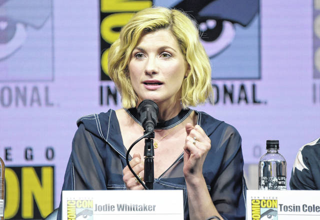 "Jodie Whittaker speaks at the ""Doctor Who"" panel during July's Comic-Con International in San Diego. Whittaker stars in the latest season of the sci-fi series, which premiered Sunday."