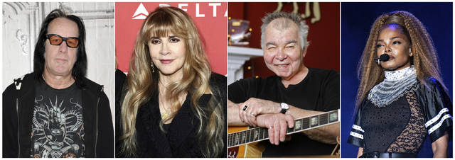 This combination photo shows, from left, Todd Rundgren, Stevie Nicks, John Prine and Janet Jackson. They were among the 15 acts nominated to the Rock and Roll Hall of Fame.