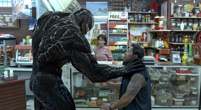 """This image released by Sony Pictures shows a scene from """"Venom."""" (Sony Pictures via AP)"""