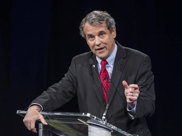 Sen. Sherrod Brown, D-Ohio speaks during a debate at the Idea Center in Playhouse Square, Sunday, Oct. 14, 2018, in Cleveland. (AP Photo/Phil Long, Pool)