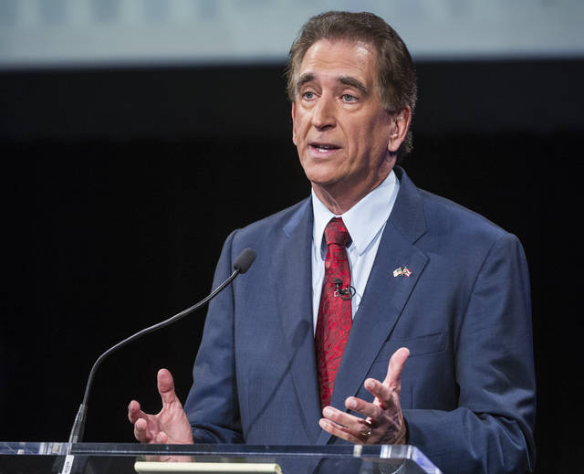 Rep. Jim Renacci, R-Ohio speaks during a debate at the Idea Center in Playhouse Square, Sunday, Oct. 14, 2018, in Cleveland. (AP Photo/Phil Long, Pool)