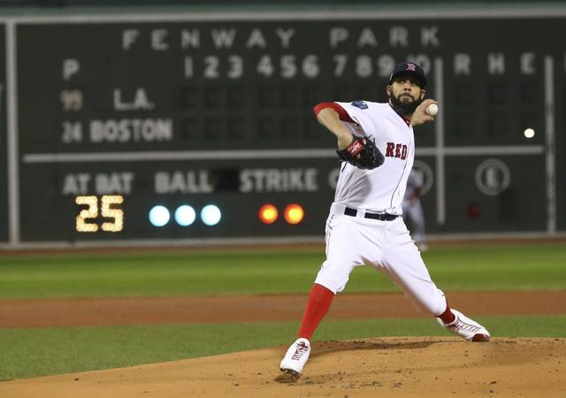Boston Red Sox starting pitcher David Price throws during the first inning of Game 2 of the World Series baseball game against the Los Angeles Dodgers Wednesday, Oct. 24, 2018, in Boston. (AP Photo/Maddie Meyer, Pool)