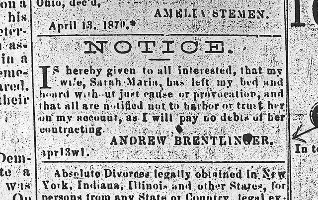 This classified ad was published April 13, 1870, in the Allen County Democrat.
