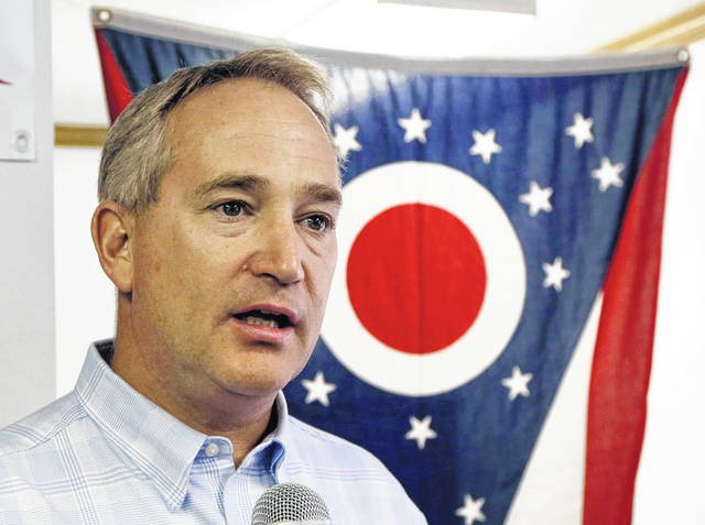 In this Oct. 13, 2014 file photo, Ohio Senate President Keith Faber speaks at Darke County GOP headquarters in Greenville. Records show Republican auditor candidate Keith Faber has been penalized repeatedly for failing to pay his property taxes on time.