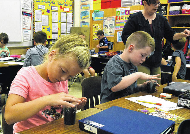 Bluffton Elementary School third-graders Carli Wise, 9, and Kenneth Kantner, 9, work on a mystery seed project to compare traits from the seedlings to adults in Beth Racburn's class on Tuesday. Bluffton Elementary School was named a 2018 National Blue Ribbon School of the 300 public schools chosen across the nation as an Exemplary High Performing School or Gap Closing School.