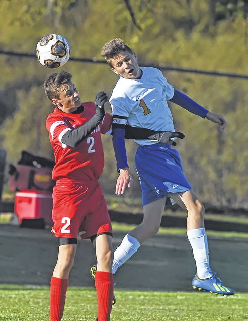 Bluffton's Collin Oglesbee (left) and Continental's Westin Okuley compete for the ball during Wednesday's Division III district semifinal match at Kalida High School.