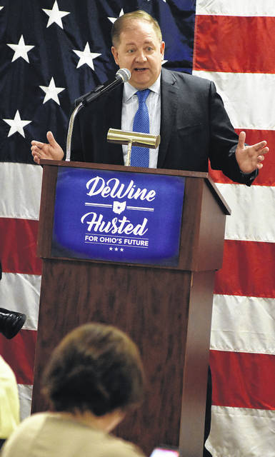 """Republican National Committee Co-Chair Bob Paduchik speaks Thursday at the Allen County Republican Party's """"Get Out the Vote Rally"""" at the Lima Knights of Columbus."""