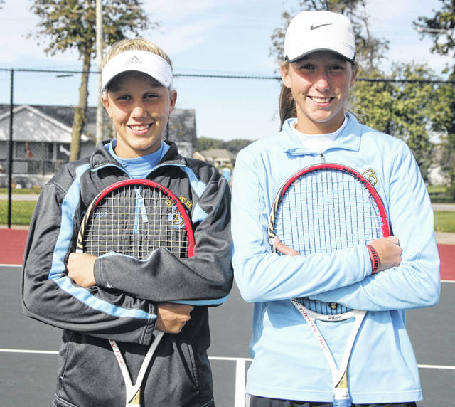 Bath's Esther, left, and Ruby Bolon will be competing in the Division II State Tennis tournament as a doubles team. The pair will begin play Friday against defending state champions Isabella Godsick and Megan Qiang from Shaker Heights Hathaway Brown.