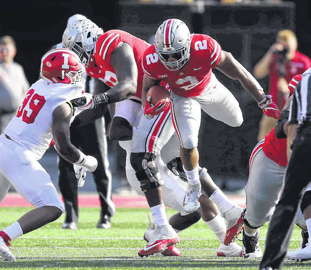 Ohio State's J.K. Dobbins had 82 yards against Indiana and the Buckyes rushed for 154 yards on the day and Urban Meyer would like to see better production out of his running game. Ohio State is fifth in rushing at 201.0 yards a game in the Big 10.
