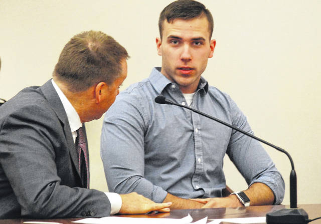 Former Lima Police Department patrolman Cody Rollins, 23, pleaded guilty Wednesday to a misdemeanor charge of vehicular homicide for his role in the Aug. 7, 2017 traffic death of Brandon Matos. Rollins, shown with his attorney, Bradley Koffel, will be sentenced Nov. 28 in Allen County Common Pleas Court.