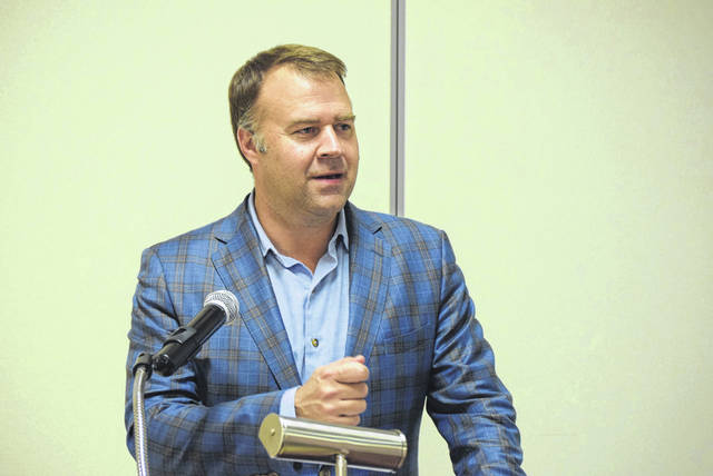 David Pepper, chairman of the Ohio Democratic Party was in Lima Tuesday night, speaking to local Democrats about the importance of the upcoming election.