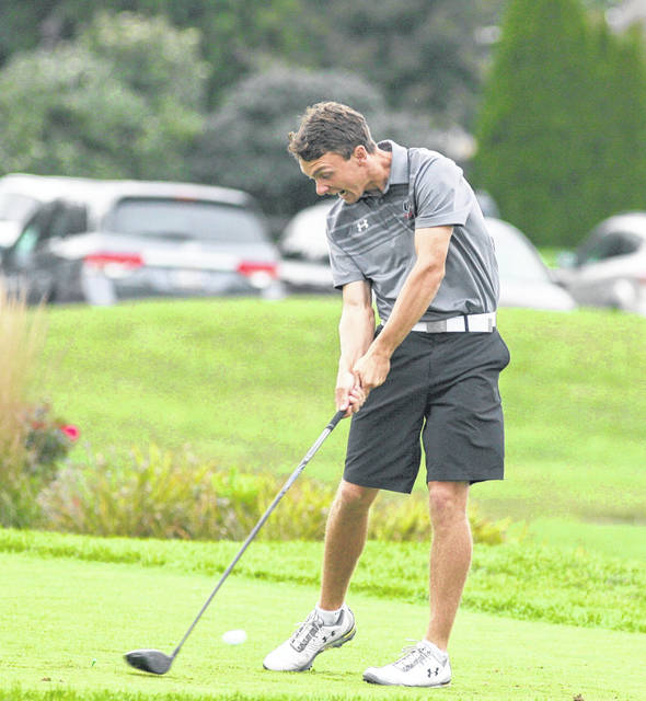 Upper Scioto Valley's Brady Hipsher hits a drive during Thursday's Division III district at Stone Ridge Golf Club in Bowling Green.