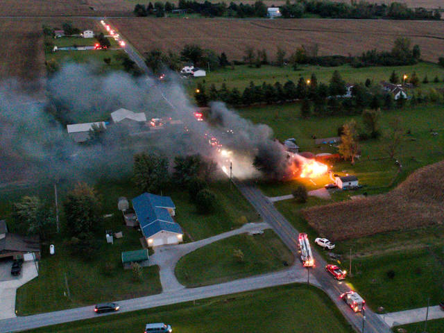 Local fire departments respond to a fire on Thayer road late Saturday evening.         Photo Courtesy of Scott Jordan of Lima Drones