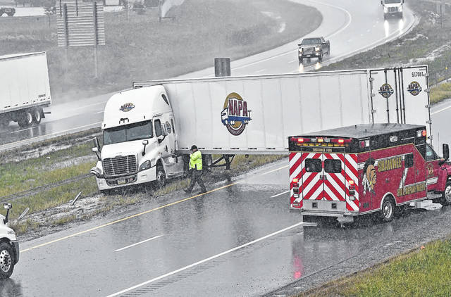A semi jackknifed on the southbound side of Interstate 75 near mile marker 122, becoming wrapped in the cables Friday morning. The accident closed down all southbound lanes of I-75.