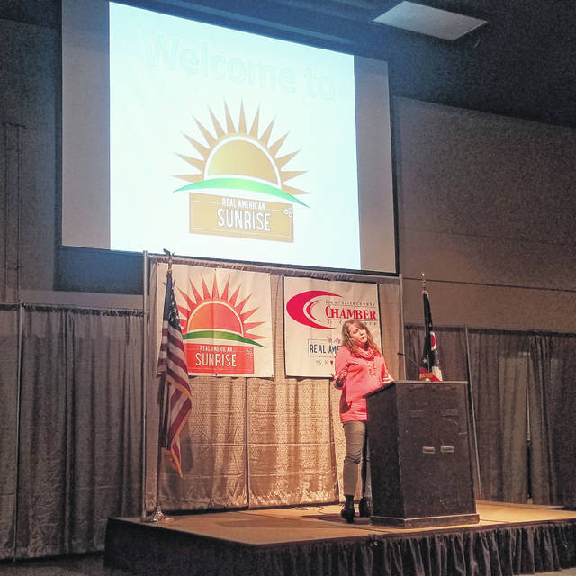 Jennifer Brogee, owner of the Meeting Place on Market, has been in business for 15 years. Her business is an example of a business that will last 20 years or more, said Kathy Keller, director of the Small Business Development Center, during Real American Sunrise Friday at Veterans Memorial Civic Center.