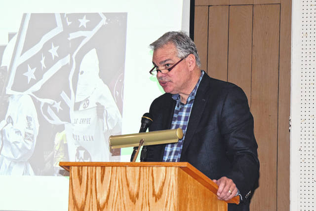 "University of Dayton history professor William Trollinger presented ""Terrorizing Immigrants and Catholics: The Ohio Ku Klux Klan in the 1920s"" Sunday at the Allen County Museum."