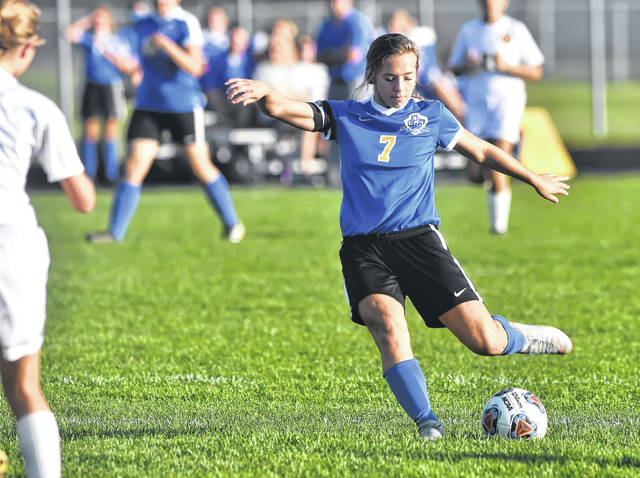 Continental's Alex Hoeffel fires a shot during Tuesday night's Putnam County League match against Kalida at Continental High School.