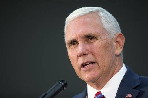 Republican vice presidential candidate Indiana Gov. Mike Pence speaks at the Henderson Convention Center in Henderson, Nev., Wednesday, Aug. 17, 2016. (Steve Marcus/Las Vegas Sun via AP)