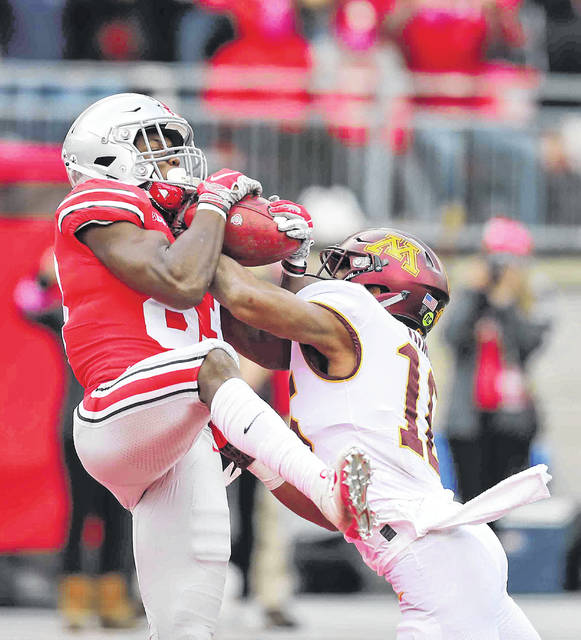 Ohio State's Terry McLaurin hauls in a touchdown catch against Minnesota's Coney Durr during Saturday's game at Ohio Stadium in Columbus.