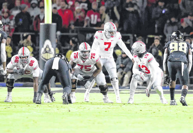 Ohio State #7 Dwayne Haskins changes the play at line prior to the snap at Ross-Ade Stadium on the campus of Purdue University October 20th2018 Photos by Don Speck