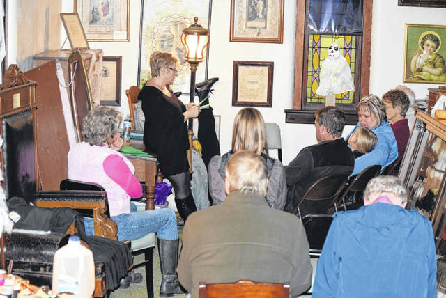 Ruth Wilhelm spoke about the Legends and Lore of Putnam County during a program Sunday night at the Putnam County Historical Society in Kalida.
