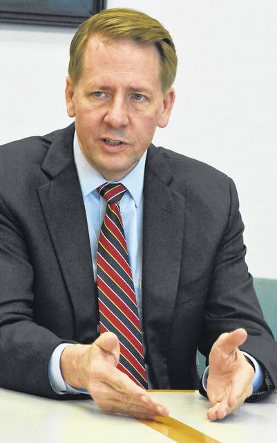 Richard Cordray, candidate for Governor of Ohio, speaks with The Lima News editorial board on Friday.