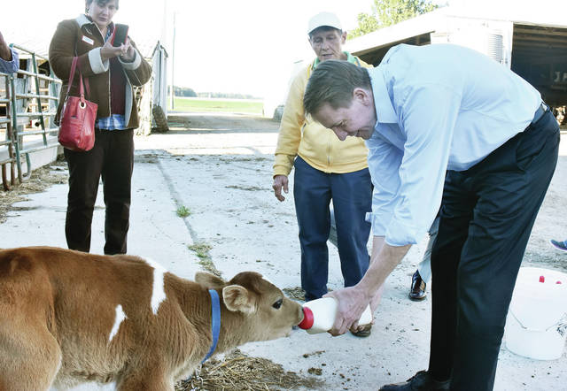 Democratic candidate for governor Rich Cordray, far right, feeds a calf milk as dairy farm owner Martha Thomas, of Jackson Center, gives him feeding tips. Cordray visited Thomas' Jackson Center area farm Thursday, Oct. 18. Taking a cell phone photo is Nancy Magnuson, of Bellefontaine.