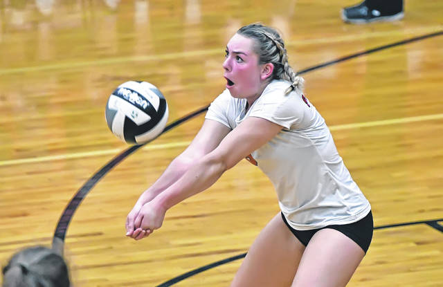 Shawnee's Dayle Aldrich bumps the ball during Thursday night's match against Celina at Shawnee's Lappin Gymnasium.