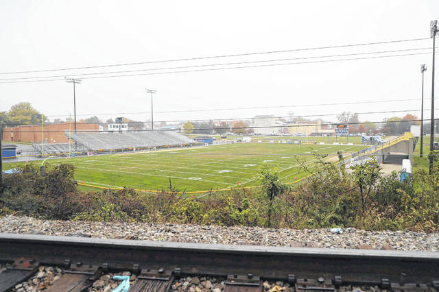 St. Marys' Skip Baughman Stadium is seen from the perspective of those who watch games from nearby railroad tracks.