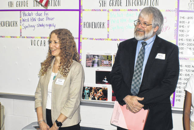 Linda Haycock, District 1 state school board member and Paolo DeMaria, State Superintendent, view activities at a classroom at South Technology and Magnet School.