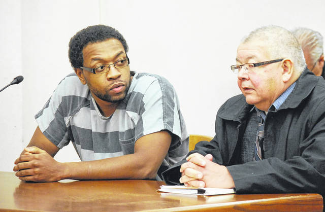 Timothy Youngblood, of Lima, charged with murder in the July 9 stabbing of his father, was ruled incompetent to stand trial during a hearing Thursday in Allen County Common Pleas Court. Youngblood was ordered to undergo treatment at the Northwest Ohio Psychiatric Hospital in Toledo for no more than one year. He is pictured with his attorney, Joe Benavidez.