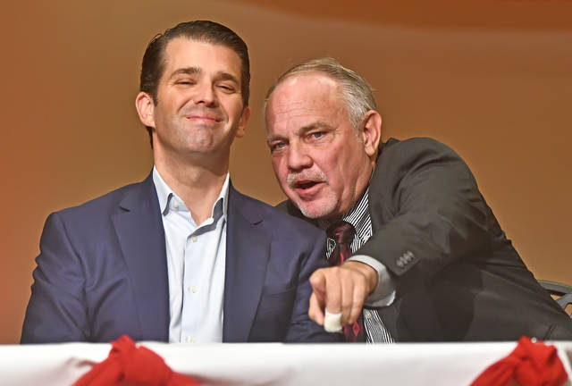 Donald Trump Jr. and Keith Cheney, Chairman of the Allen County Republican Party, speak at a Get Out The Vote Rally on Tuesday at the UNOH Event Center in Lima.