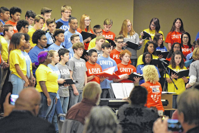 Choirs from Lima Senior, Spencerville and Shawnee High Schools performed during United Way's Centennial Celebration.