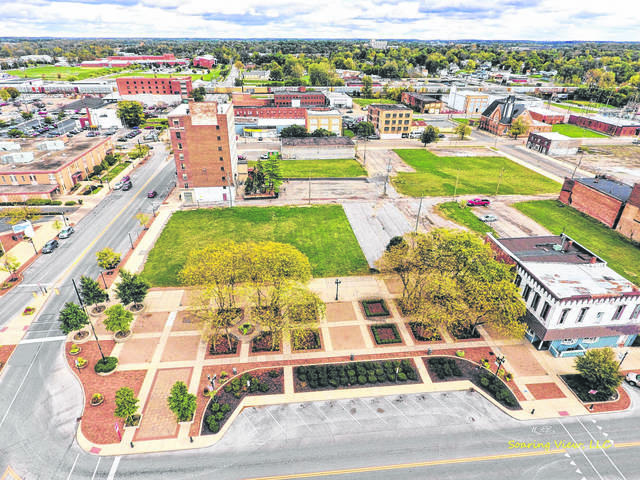 This 2017 file photo shows an aerial view of the southeast quadrant of Lima's Town Square, set to be home to the Rhodes State College Center for Health Sciences Education & Innovation.