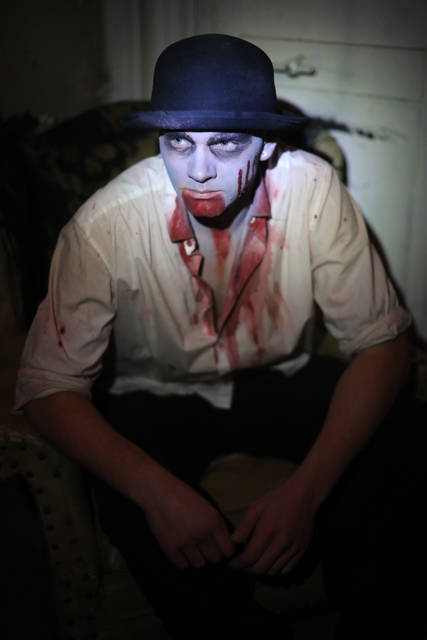 Russel Bates plays Mayor Joseph at the Haunted Town Hall in Lafayette.  Amanda Wilson -The Lima News