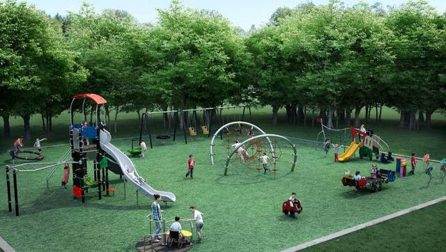 A preliminary sketch of the playground at Lincoln Park illustrates the playground's inclusive concept.