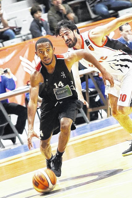 Lima Central Catholic and University of Findlay alum Martyce Kimbrough (14) is in Spain playing pro basketball for Circulo Gijon.