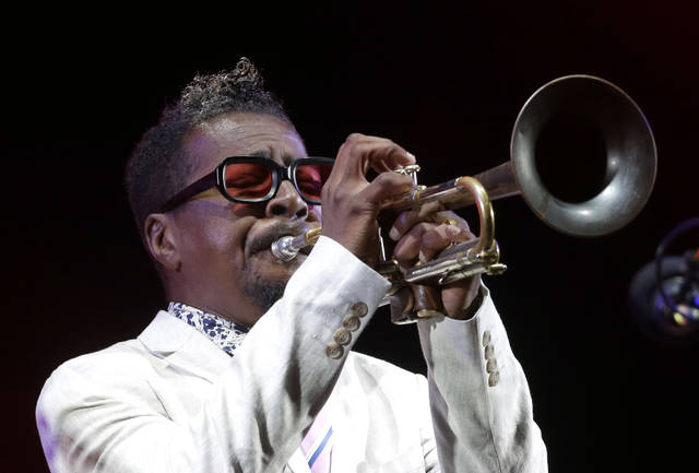 In this July 26, 2018 photo, American jazz trumpeter Roy Hargrove performs at the Five Continents Jazz festival, in Marseille, southern France. The Grammy-winning jazz trumpeter has died at age 49. Manager Larry Clothier says in a statement that Hargrove died in New York on Friday from cardiac arrest stemming from a longtime fight with kidney disease.