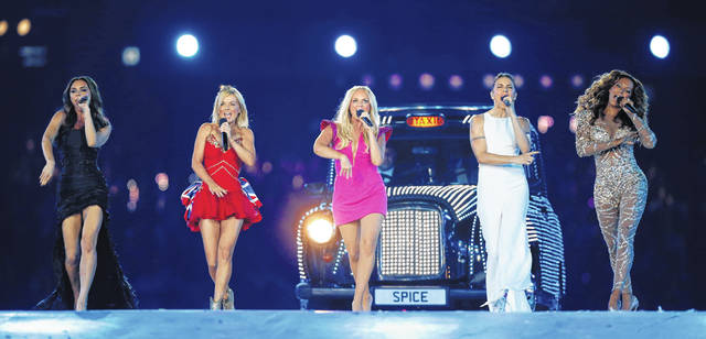 "British band ""The Spice Girls"" perform during the Closing Ceremony at the 2012 Summer Olympics in London. The Sun newspaper said Saturday that the 1990s girl group is about to announce a new tour without original member Victoria ""Posh Spice"" Beckham."