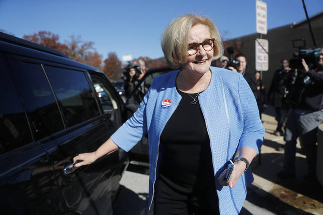 Incumbent Sen. Claire McCaskill, D-Mo., leaves her polling place after voting Tuesday in Kirkwood, Mo.