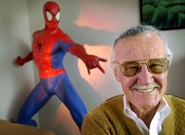 "Stan Lee, creator of comic-book franchises such as ""Spider-Man,"" ""The Incredible Hulk"" and ""X-Men,"" smiles during a photo session in his office in Santa Monica, Calif., in 2002. The comic book genius, the architect of the contemporary comic book, has died. He was 95."