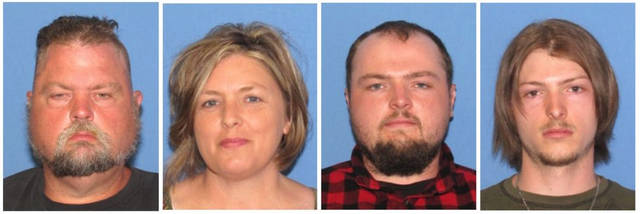 "These undated images released by the Ohio Attorney General's office, show from left, George ""Billy"" Wagner III, Angela Wagner, George Wagner IV and Edward ""Jake"" Wagner. Authorities announced Tuesday, Nov. 13, 2018, that the family of four has been arrested in the slayings of eight members of one family in rural Ohio two years ago. (Ohio Attorney General's office via AP)"